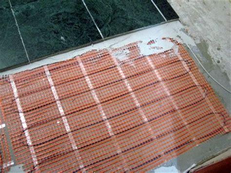heated tile floor in the floor heating