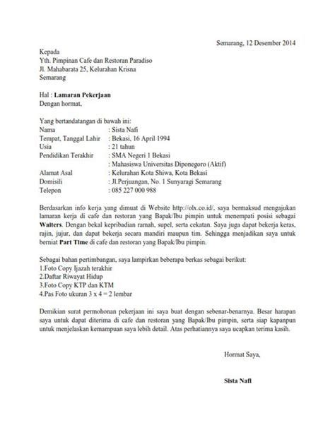 Contoh Lop Lamaran Kerja contoh surat lamaran kerja berdasarkan informasi dari bkk
