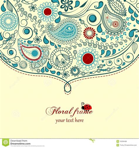 paisley floral frame royalty  stock  image