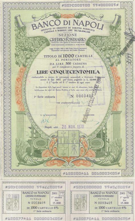 banco di napoli banco di napoli titolo finanziario storico scripomuseum