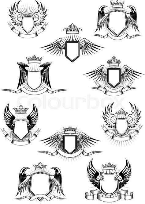 heraldic coat  arms templates  medieval winged