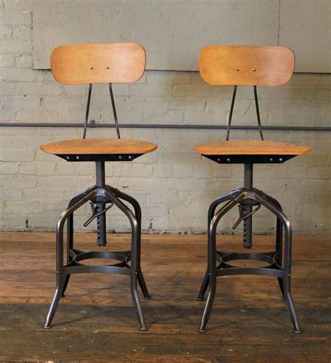 vintage toledo leather bar chair pair of bent plywood vintage industrial toledo adjustable