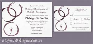 Vineyard wedding invitations vintage rustic wedding for Modern winery wedding invitations