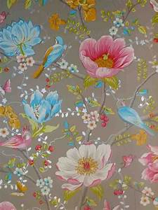 pip studio vlies tapete 341004 floral vogel grau vintage With markise balkon mit tapeten pip studio design