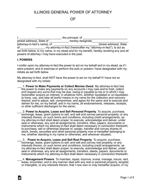 blank power of attorney form illinois free illinois general power of attorney form word pdf
