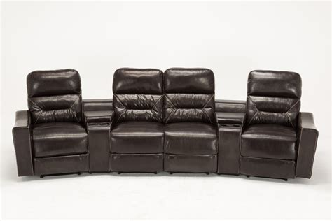 leather sectional recliner sofa with cup holders mcombo home theater leather 4 set recliner media sofa w