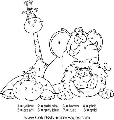 happy zoo animals color  number coloring picture