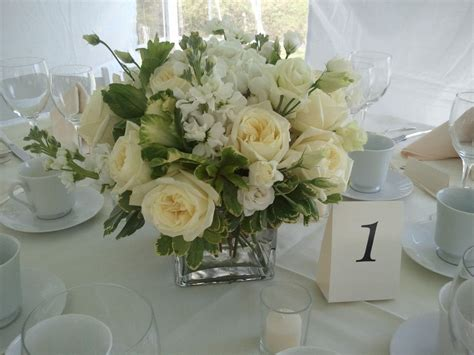 Green And White Centerpieces Featured Garden Roses