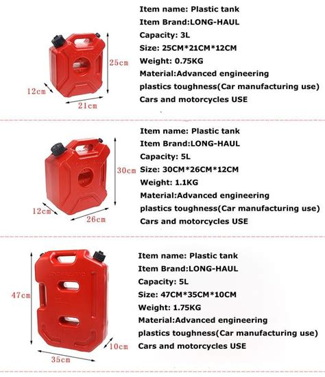 3l Fuel Tank Cans Spare Plastic Petrol Tanks Mount