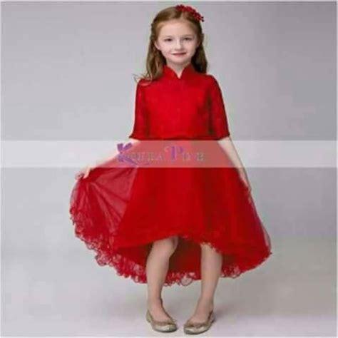 jual gaun anak import brokat merah pita kecil  lapak