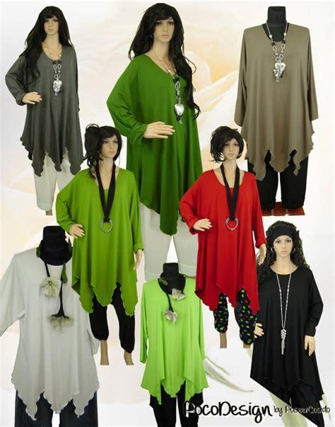Poco Design Lagenlook Overlong Shirt Jersey Tunika Schwarz
