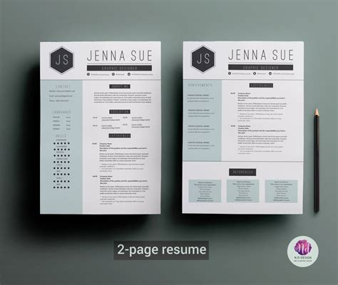 2 Page Resume Templates Free by Modern 2 Page Resume Template Cover Letter Template