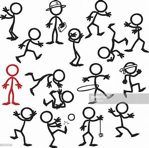 Stick Figure People Stand Out In A Crowd Vector Art