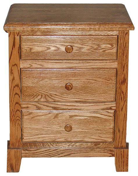 Oak Nightstand With Drawers by Shaker Oak 3 Drawer Nightstand Traditional Nightstands