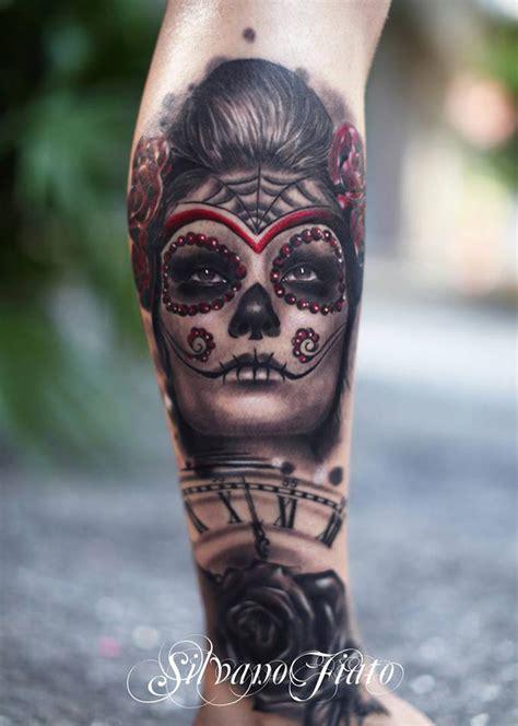 fantastic sugar skull  clock rose cover   tattoo design ideas