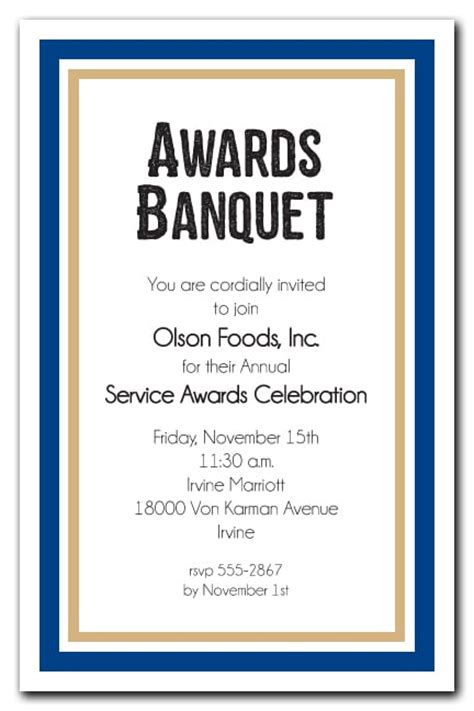 navy blue  gold border business awards party invitations
