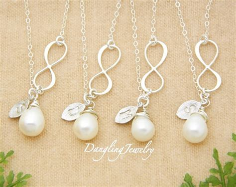Wedding Jewelry Ideas : Bridesmaid Gifts, Set Of 4, Infinity Necklace, Pearl