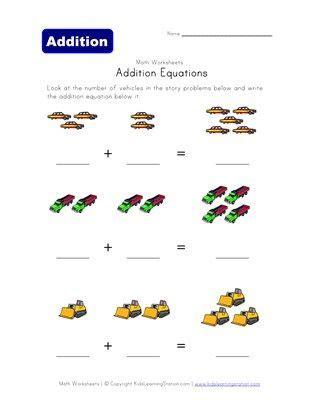 addition equations worksheet vehicles equations