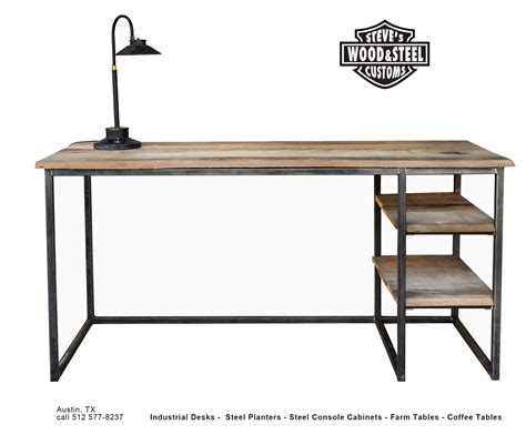 industrial style computer desk buy a custom made industrial reclaimed wood desk made to