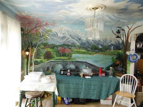 hand  kitchen dining room mural floor  ceiling