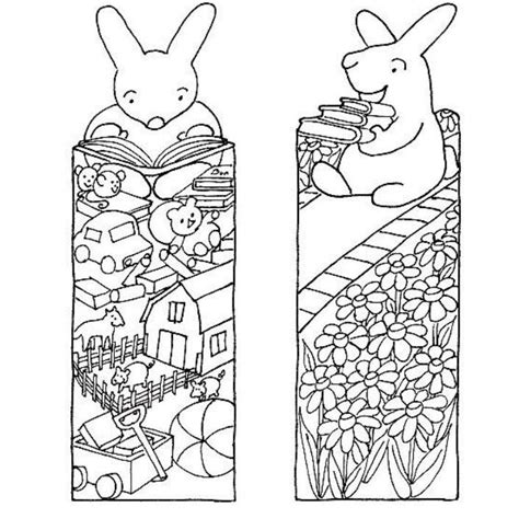 bookmarks to color bunny printable bookmarks to color