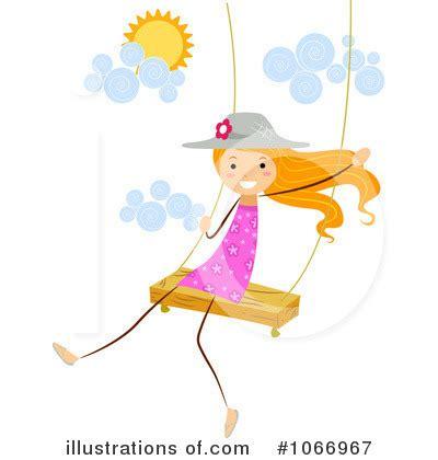 Little Girl Swinging On Swing Clip Art