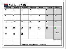 Kalender oktober 2018, Nederland