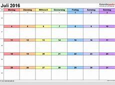 Kalender Juli 2016 als PDFVorlagen