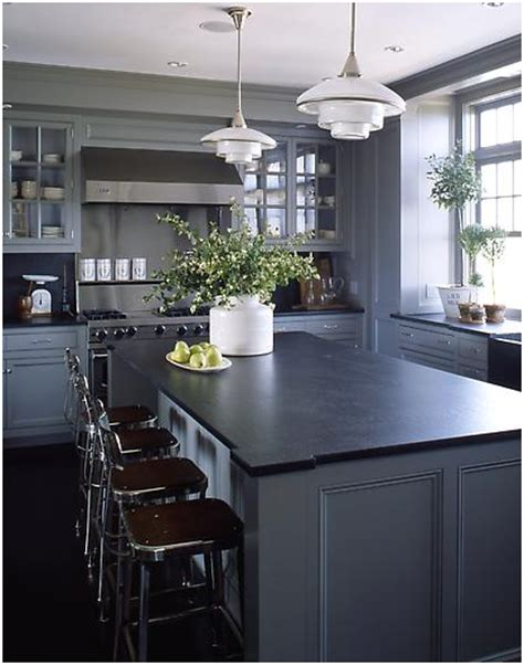lighter gray cabinets dark soapstone counters diy  designs   grey kitchen