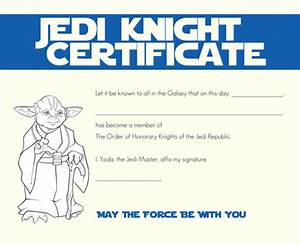 star wars party jedi certificates galactic party With star wars jedi certificate template free