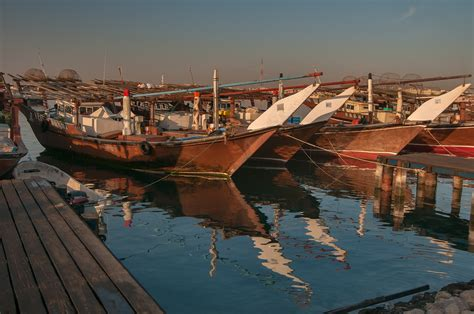 Fishing Boat Qatar by Photo 1174 01 Three Dhow Fishing Boats On A Pier In Al