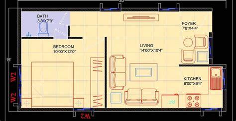 studio apartment interior floor layout dwg plan