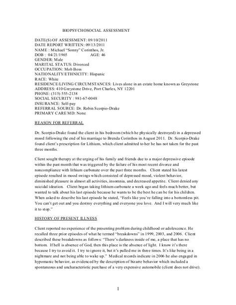 biopsychosocial assessment template biopsychosocial assessment