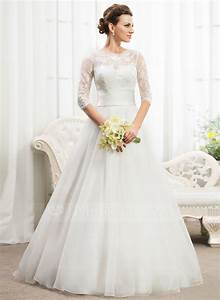 ball gown scoop neck floor length organza lace wedding With wedding dresses with sequins