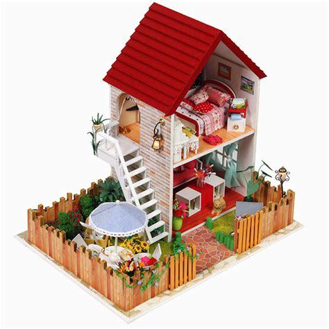 Handmade Wooden Dollhouse Miniature Diy Kit Large Villa
