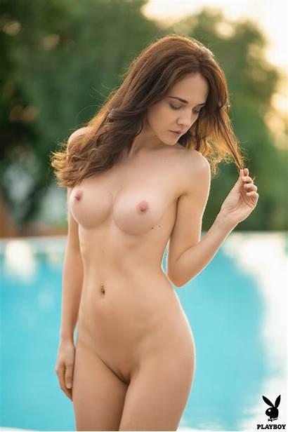 Bianka Helen Playboy Poolside Relaxation Naked Takes