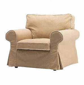 New ikea ektorp armchair slipcover cover idemo beige w piping for Sofa arm covers canada