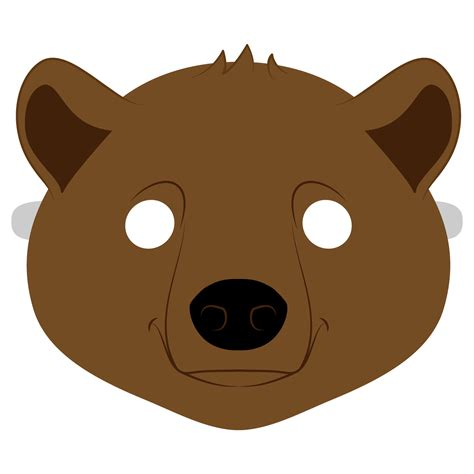 brown bear mask template  printable papercraft templates