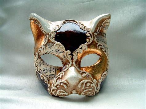 venetian cat mask cat gold brown white venetian mask venetian masks