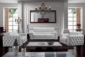 Zonka tufted leather sofa set modern living room for Houzz living room furniture