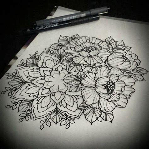 dessin tatouage mandala  fleurs de pivoine