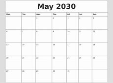 May 2030 Printable Calendar Pages