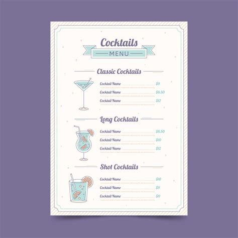 Fabelhaft vorlagen 3d stift kostenlos für sie. Hand gezeichnetes design der cocktailkarte   Premium-Vektor