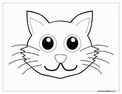 Coloring Cat Face Animal Hat Faces Colorear