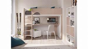 Lit Avec Bureau : lit mezzanine ado avec bureau d 39 angle spacieux glicerio so nuit ~ Teatrodelosmanantiales.com Idées de Décoration
