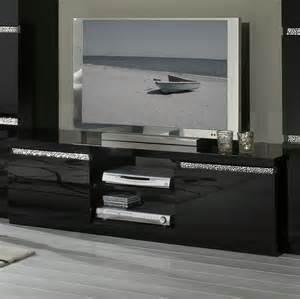 meuble tele noir laque