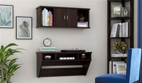 buy canyon wall mount study table  shelf walnut
