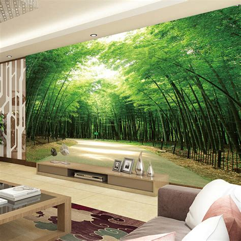 home living room tv background  bamboo mural thai wall