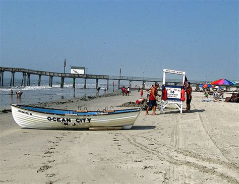 Boat R Ocean City Nj by Ocean City Nj Lifeguard Stand And Boat Photo Retouched