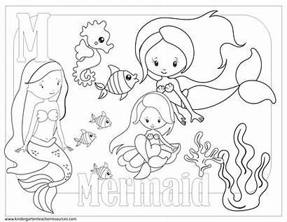 Coloring Pages Kindergarten Mermaid Printable
